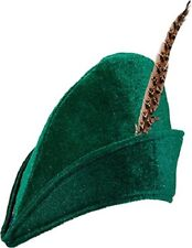 Ladies Mens Green Felt Robin Hood Archer Hat Fancy Dress Costume Accessory