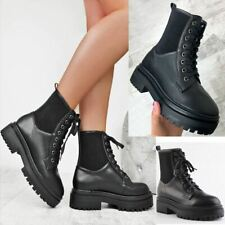 Womens Sock Ankle Boots Lace Up Stretchy Comfy Chunky Track Sole Winter Shoes