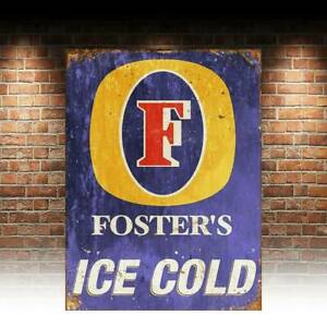Fosters Beer Lager Advert Retro Vintage Style Metal Bar Pub Shed MAN CAVE SIGN