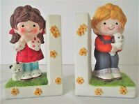 Gentle Treasures Bookends Vintage 1977 Boy Girl Dog Cat Figurines RARE VHTF