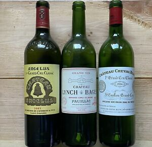 Chateau Angelus - Cheval Blanc - Lynch Bages- leere Flaschen! / Empty bottles!