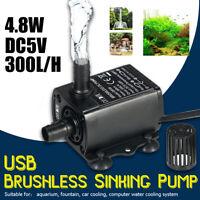 DC 5V 4.8W USB Submersible Water Pump Aquarium Fish ank Fountain Pond QR50B
