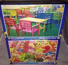 2 Puzzlebug 500 Pieces *COLORFUL WOOD ARMCHAIRS & SPAIN CANDY STAND* Puzzle Lot