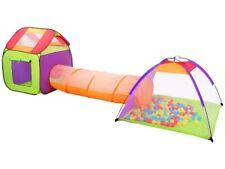 Kinder Spielzelt 3in1 Haus+Tunnel+Zelt inkl. 200 bunte Bälle Dach Fenster 2881