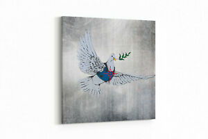 Leinwand Banksy Friedenstaube Wandbild Kunstdruck Bild Streetart Canvas Deko