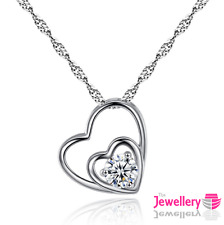 925 Sterling Silver Double Heart 6mm Crystal Pendant Necklace Chain Women Ladies