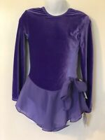 GK VINCA VELVET CHILD SMALL LgSLV N/S FOIL TRIM ICE FIGURE SKATE DRESS CS NWT!