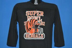 vintage 80s CINCINNATI BENGALS SUPER BOWL 1982 BLACK LOGO 7 t-shirt FOOTBALL M