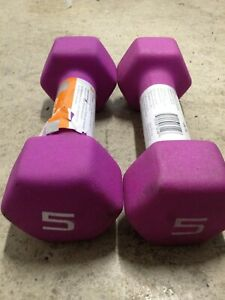Hex Neoprene 5LB Set of Two Dumbbells Hand Weights Purple 10lbs Total