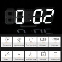 White Digital 3D LED Wall Clock Alarm Clock Snooze 12/24 Hour Display USB Modern