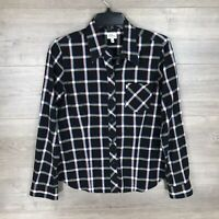 L.L. Bean Women's Size 6 Button Down Flannel Shirt Top Black Plaid Long Sleeve