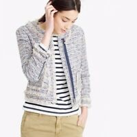 J.CREW $178 Fringe Tweed Lined Subtle Sparkle Zip Front Jacket Top Size 2