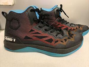 Sz 9.5 Sz 43 Mens FANTOM AND1 Basketball Sneakers Fantom II Black Lace Up