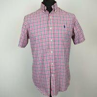 Ralph Lauren Mens Shirt MEDIUM Short Sleeve Check Pink Multicoloured Cotton