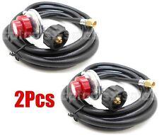 (2) 12ft Propane Regulator High Pressure LPG BBQ Gas Burner Wok Fryer Hose 20PSI