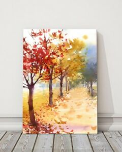 watercolour of colourful autumn trees fallen leaves canvas picture print