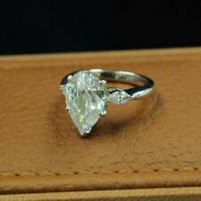 2.40 Ct Pear Cut Moissanite Three Stone Wedding Engagement Ring, Wedding Ring