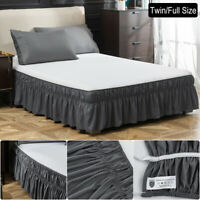 Twin Full 16'' Drop Bed Skirt Dressing Dust Ruffle Wrap Around Bed Gray Solid