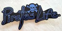 """Large PIRATE'S LIFE brand BLUE Skull Bumper Sticker 9"""" x 4"""" Di-cut Decal"""