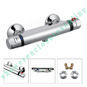"""Thermostatic Exposed Bar Shower Mixer Valve Tap Chrome Bottom 1/2"""" Outlet Modern"""