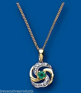 """Yellow Gold Emerald Pendant 18"""" Chain Solid Hallmarked Natural Emeralds RRP £229"""