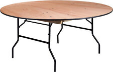 "(5 Pack) 66"" Round Wood Folding Banquet Table - Commercial Quality Banquet Table"