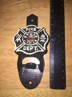 Firefighter Cast Iron Beer Bottle Opener Americana BBQ Patina Vintage Style Ex!!