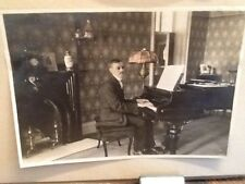 Antique silver Gelatin PHOTOGRAPH of BLIND Piano Player *music musician