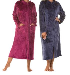 Lady Olga Sweet Embrace Soft Feel Zip Dressing Gown Navy, Dark Rose 10-24