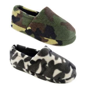 Kids Boys Camouflage Slipper Camo Full Back Slippers  Green Black Size 9-3