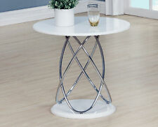 Lamp Side End Coffee Table White Gloss Round Top Chrome Spiral Frame
