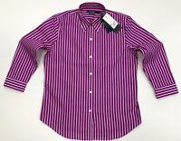 Lauren By Ralph Lauren NON IRON Women's Stripe Blouse Shirt In Pink/White Size