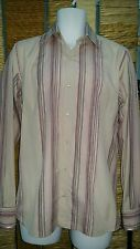 TED BAKER Mens Long Sleeve Pink Striped Shirt With Cuff Links Size 3