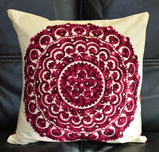 Cotton Silk Suzani Embroidery Hand Made Beige Pillow Cover/Cushion Cover India