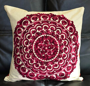 Cotton Silk Suzani Embroidery Hand Made Beige Pillow Cover