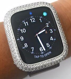 Bling Apple Watch Series 4/5/6/SE Bezel Face Case Zirconia Diamond Silver 44 mm