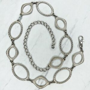 """Silver Tone Engaved Open Belly Body Chain Link Belt One Size 32""""-42"""""""