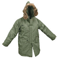 Army Military Style N3B Parka Insulated Padded Brown Fur Top Hooded Jacket Olive