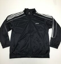 Mens Used Adidas Black Stripes Jacket Jogging Large
