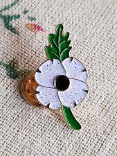 2020 White Poppy Pin Badge Brooch Poppy Day Remembrance Day Sunday