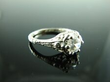 Sterling Silver Antique Style Filigree Ring With White Cz Gemstone 5mm Size 5.75