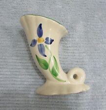 "Vintage Hand Painted Floral 6"" Upright Cornucopia Ivory Pottery Vase FREE S/H"