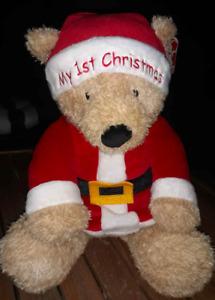 "Baby My First 1st Christmas Plush Teddy Bear Santa Suit Hat 14"" New Holiday GUND"
