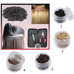 500 lot Lined Nano Rings Micro Beads Link Hair Extensions Loop Tools 3mm