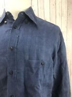Canali Blue Linen Men's Long Sleeves Shirt Size 40-15 3/4 Made in Italy