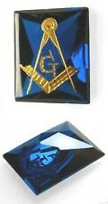 6,1 ct  Vintage Blue Sapphire VVS quality with 14ct Gold Freemasonry Logo Inlay
