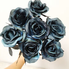 1Pc Artificial Silk Pieces Black Rose Bouquet Real Feeling Flower Decor