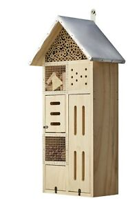 50cm Insektenhotel Holz XXL TURM Nistkasten Natur Insekten Metall-Dach 7 Kammern