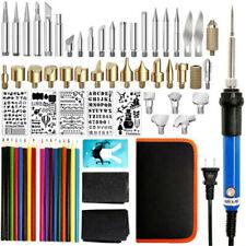 71pcs 110V Wood Burning Pen Set Stencil Soldering Tips Tools Pyrography Kit Us
