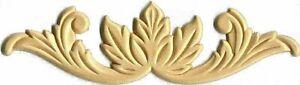 "Cabinet Furniture Birch Wood Applique Leaf and Upturned Scroll 9"" x 2-1/2"""
